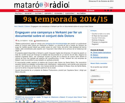 Noticia en Mataró Ràdio