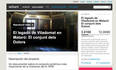 Página de Verkami del proyecto
